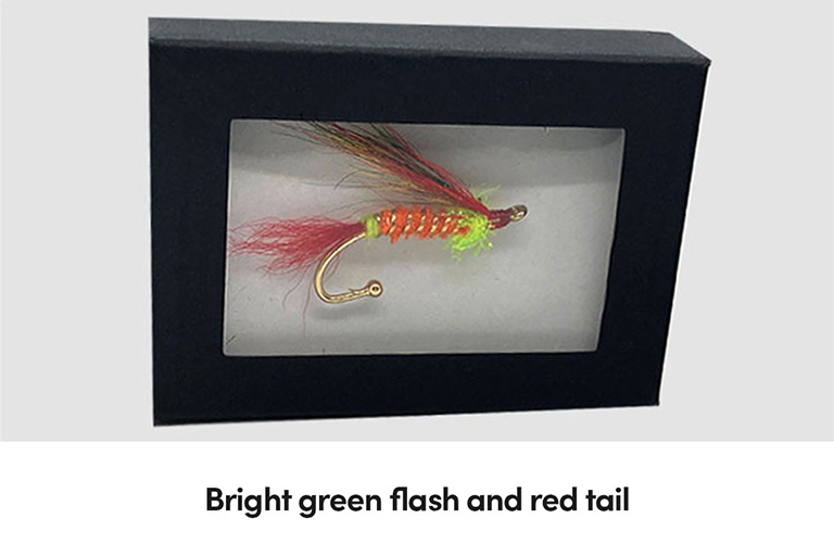 Bright green flash and red tail