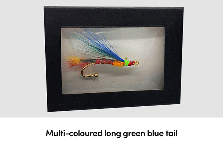 Multi-coloured long green blue tail